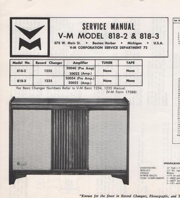 818-2 818-3 Console Service Manual... Comes with 1235 record changer manual. 818-2 comes with 20022 and 20040 manuals..   818-3 comes with 20022 and 20054 manuals..