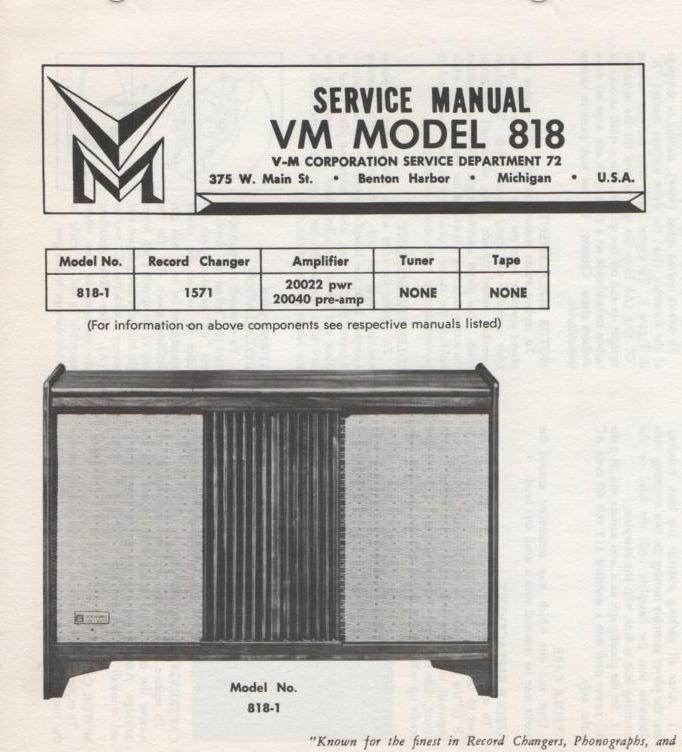 818 Console Service Manual.  Comes with 1571 record changer manual and 20022 20040 manuals