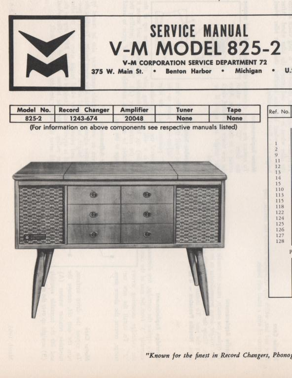 825-2 Console Service Manual... Comes with 1243 record changer and 20048 manuals
