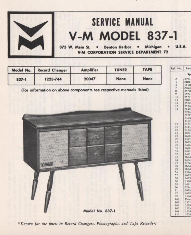 837-1 Console Service Manual... Comes with 1223 record changer and 20047 manuals