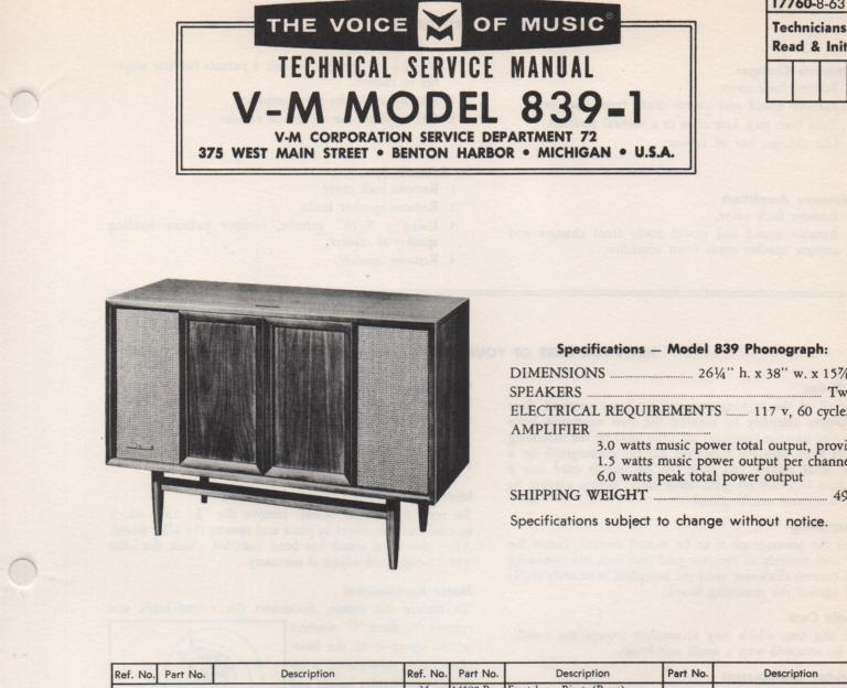 839-1 Console Service Manual... Comes with 1257 record changer manual. no schematics..