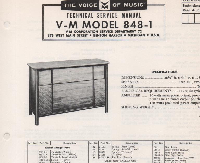 848-1 Console Service Manual... Comes with 1257 record changer manual No schematics..
