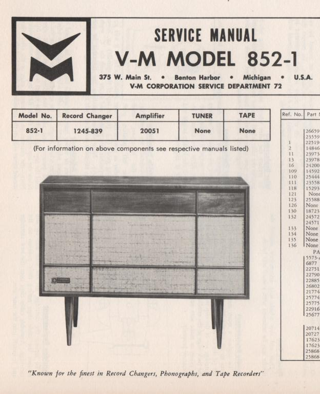 852-1 Console Service Manual... Comes with  20051 amplifier manual.   no changer manual.