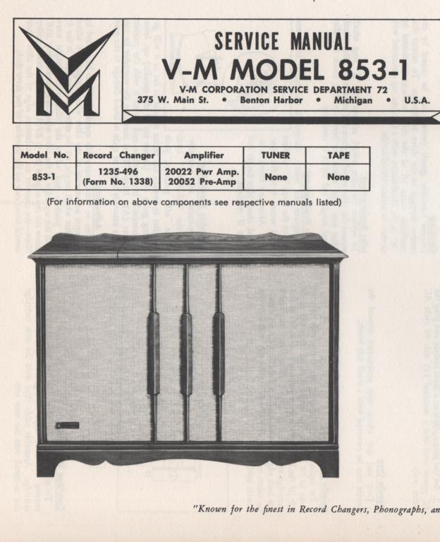 853-1 Console Service Manual... Comes with 1235 changer manual and 20022 20052 manuals.