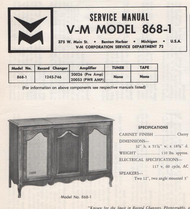 868-1 Console Service Manual.  Comes with 20026 and 20053 manuals.  No changer manual..