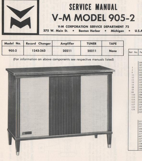 905-2 Console Service Manual Comes with 1243 changer manual.. No schematics..
