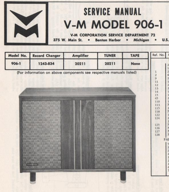 906-1 Console Service Manual Comes with 1243 changer manual.. No schematics..