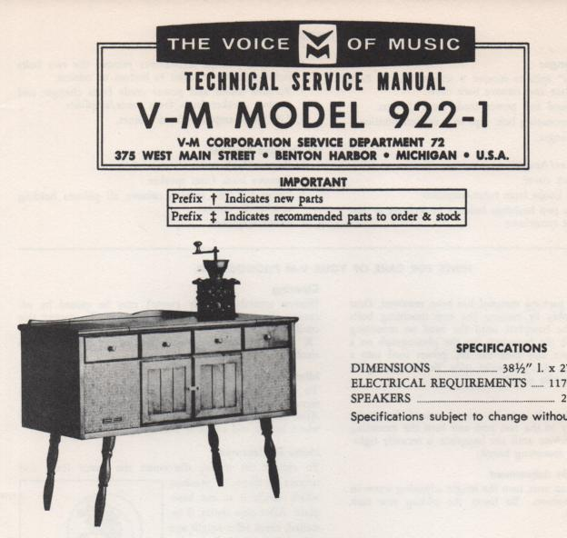 922-1 Console Service Manual. Comes with 1287 and 20227 manuals.