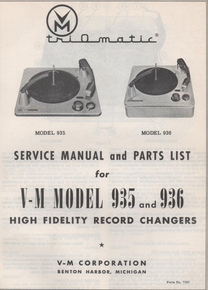 935 936 Record Changer Service Manual