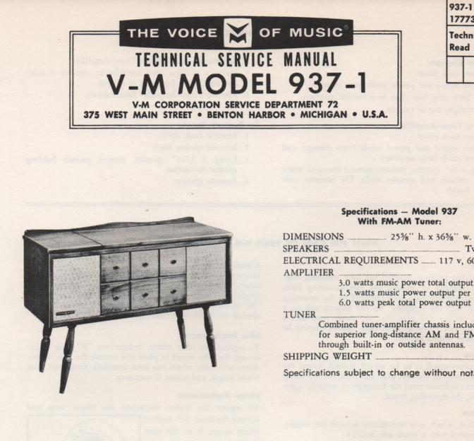 937-1 Console Service Manual..   Comes with 1257 record changer manual..  No schematics..