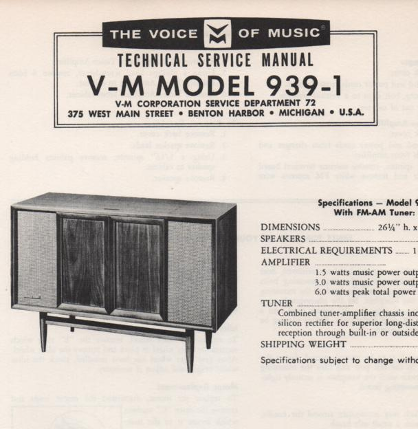 939-1 Console Service Manual.. Comes with 1257 record changer manual..  No schematics..