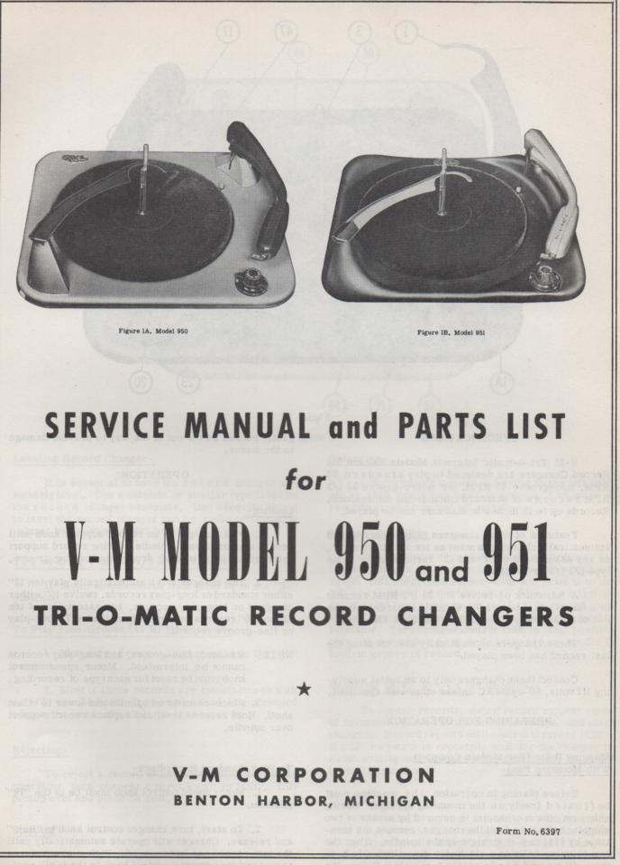 950 951 Record Changer Service Manual