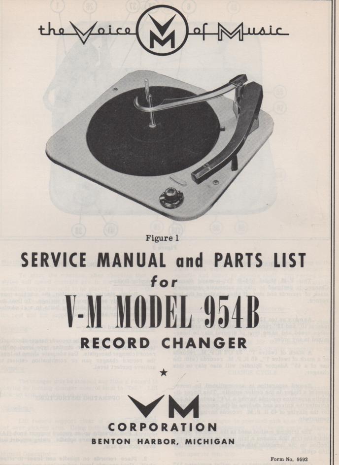 954B Record Changer Service Manual