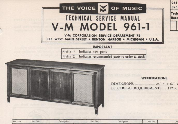 961-1 Console Service Manual. Comes with B1256 B1266 changer manual.   No amplifier tuner manual...