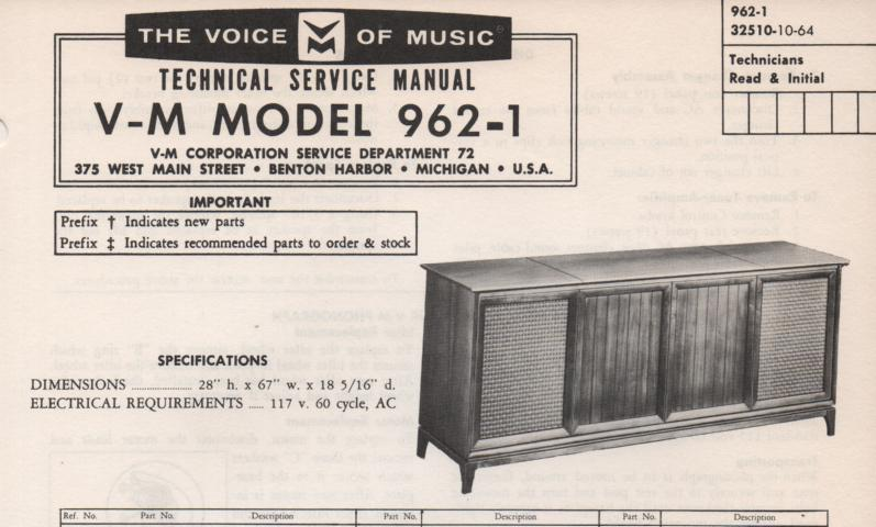 962-1 Console Service Manual. Comes with B1256 B1267 changer manual. No amplifier tuner manual...