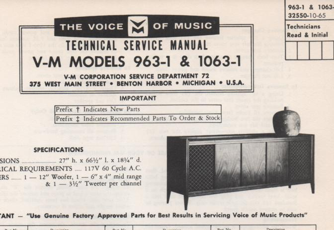 963-1 Console Service Manual. Comes with 1297 changer manuall and 20224 amplifier tuner manual...