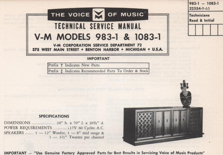 983-1 Console Service Manual. Comes with 1297 changer manual and 20228 amplifier tuner manual and 1482-1 manual.