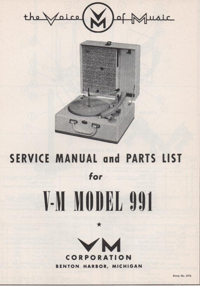 991 Record Player Service Manual