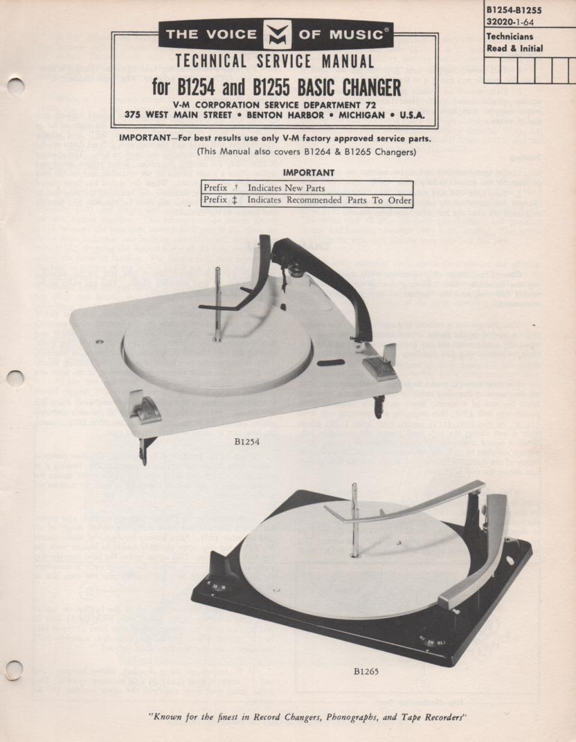 B1254 B1255 Record Changer Service Manual