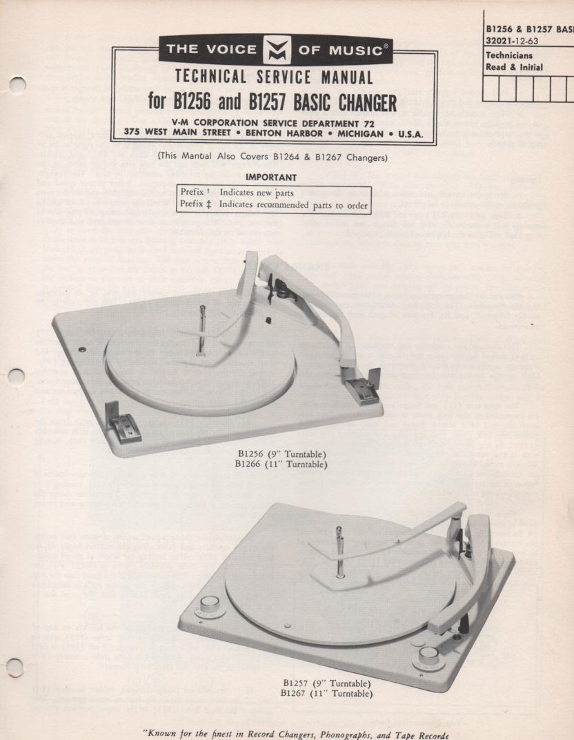 B1256 B1257 Record Changer Service Manual