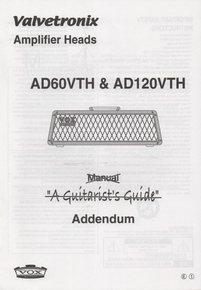 AD60VTH AD120VTH Valvetronix Guitar Amplifier Owners Manual 2.