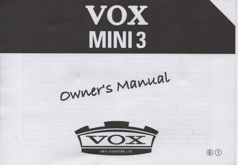 Mini 3 Guitar Amplifier Owners Operating Instruction Manual