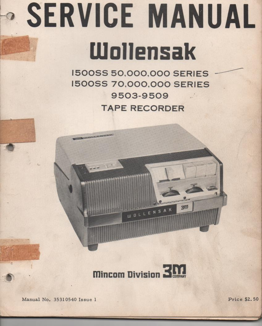 1500SS 9503 9509 Reel to Reel Tape Recorder Service Manual