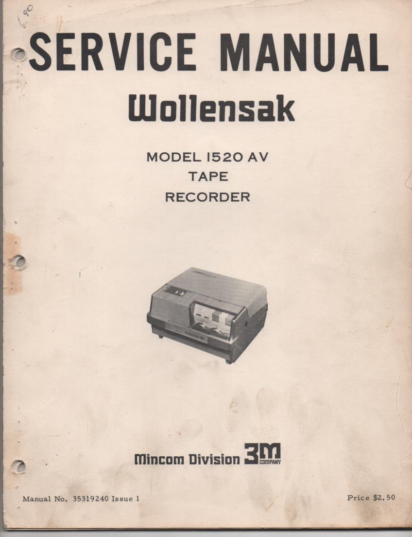 1520AV 1520 AV Reel to Reel Tape Recorder Service Manual