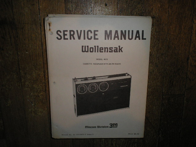 4515 Cassette Tape Recorder AM FM Radio Service Manual