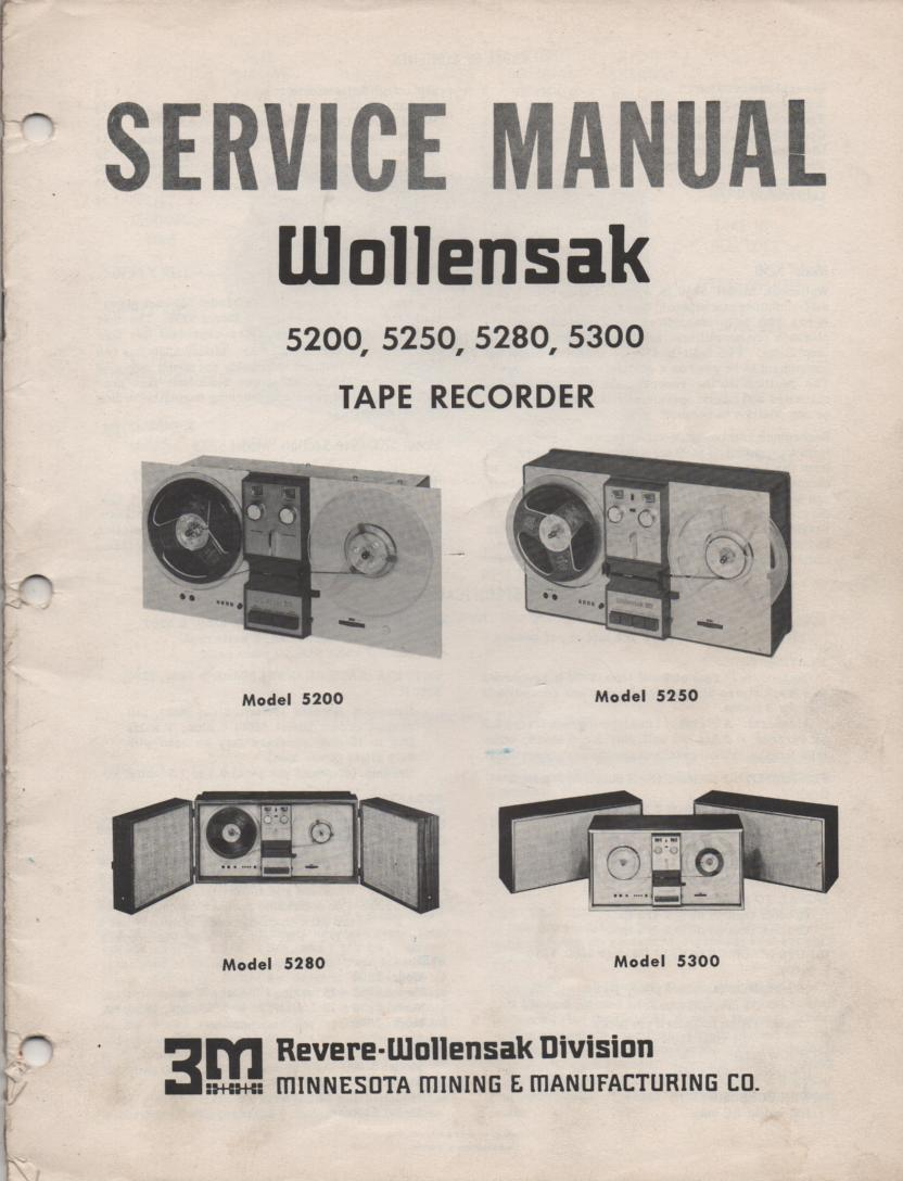 5200 5250 5280 5300 Reel to Reel Service Manual  WOLLENSAK