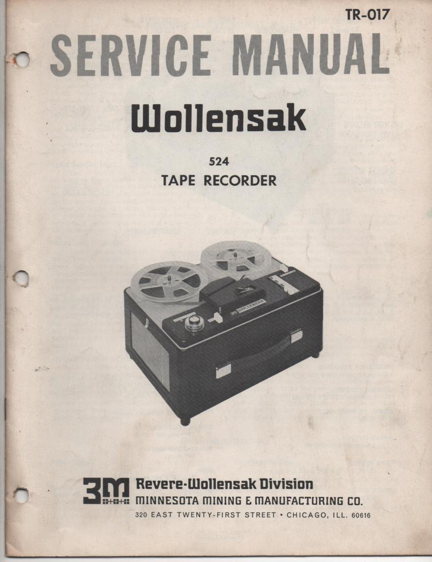 524 Reel to Reel Service Manual  WOLLENSAK