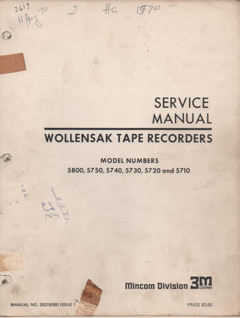 5710 5720 5730 5740 5750 5800 Reel to Reel Service Manual  WOLLENSAK