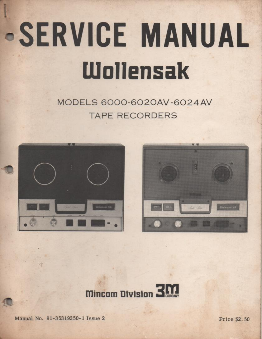 6000 6020AV 6024AV Reel to Reel Service Manual  WOLLENSAK