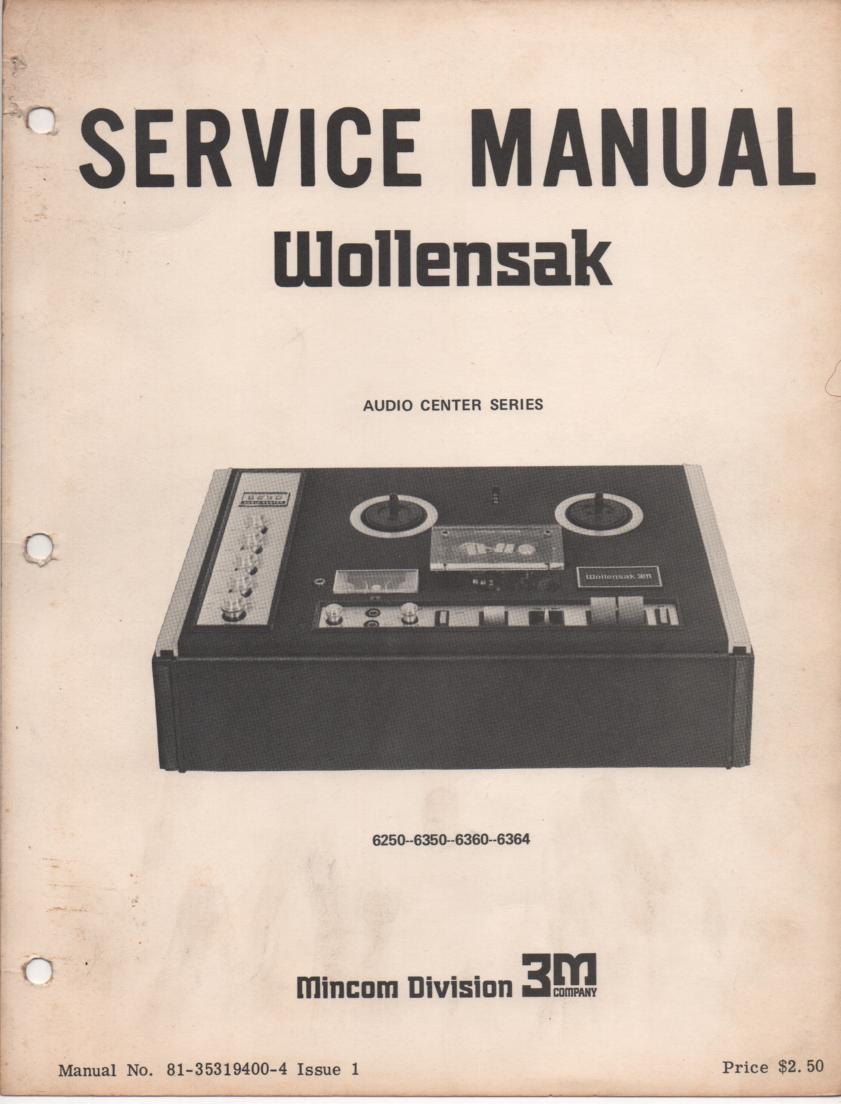 6250 6350 6360 Reel to Reel Tape Recorder Service Manual