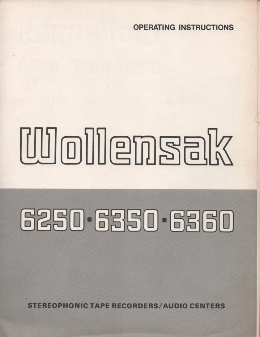 6250 6350 6360 Reel to Reel Owners Manual  WOLLENSAK