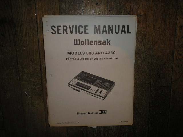 880 4350 Portable ACDC Cassette Recorder Service Manual