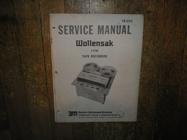 1780 Reel to Reel Service Manual  WOLLENSAK