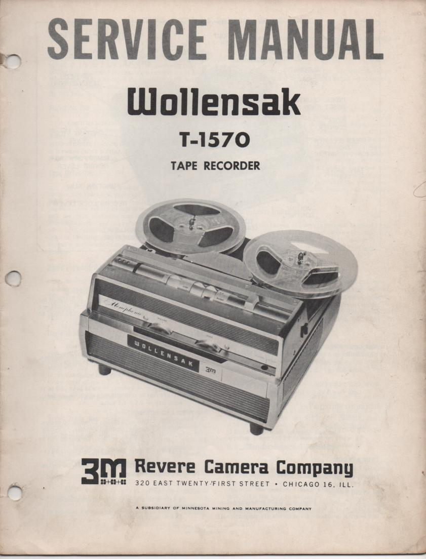 T-1570 Reel to Reel Tape Recorder Service Manual