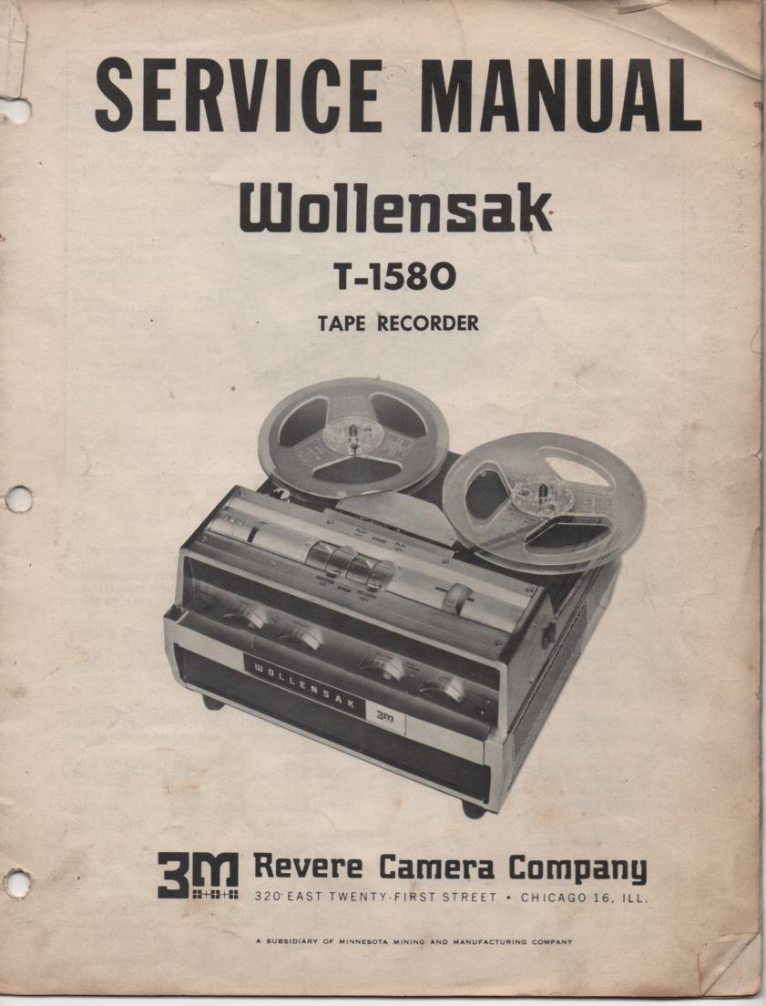 T-1580 Reel to Reel Tape Recorder Service Manual