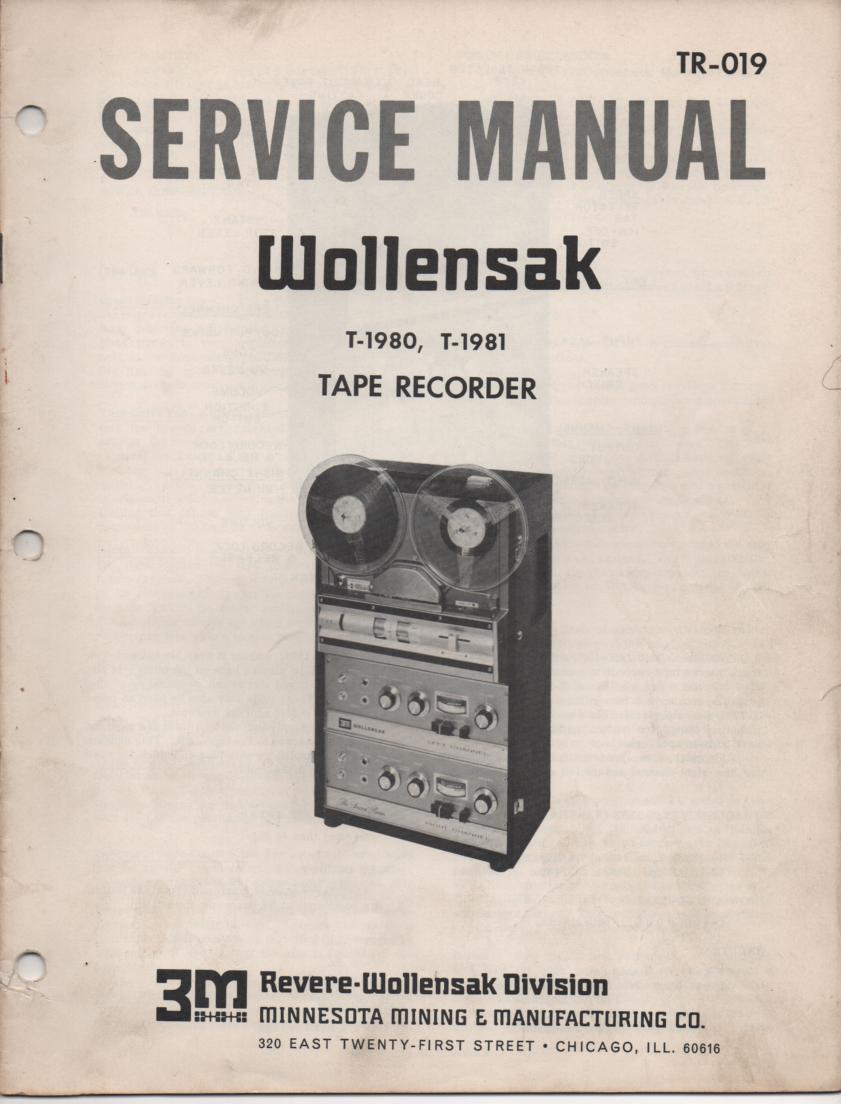 T-1980 T-1981 Reel to Reel Service Manual  WOLLENSAK