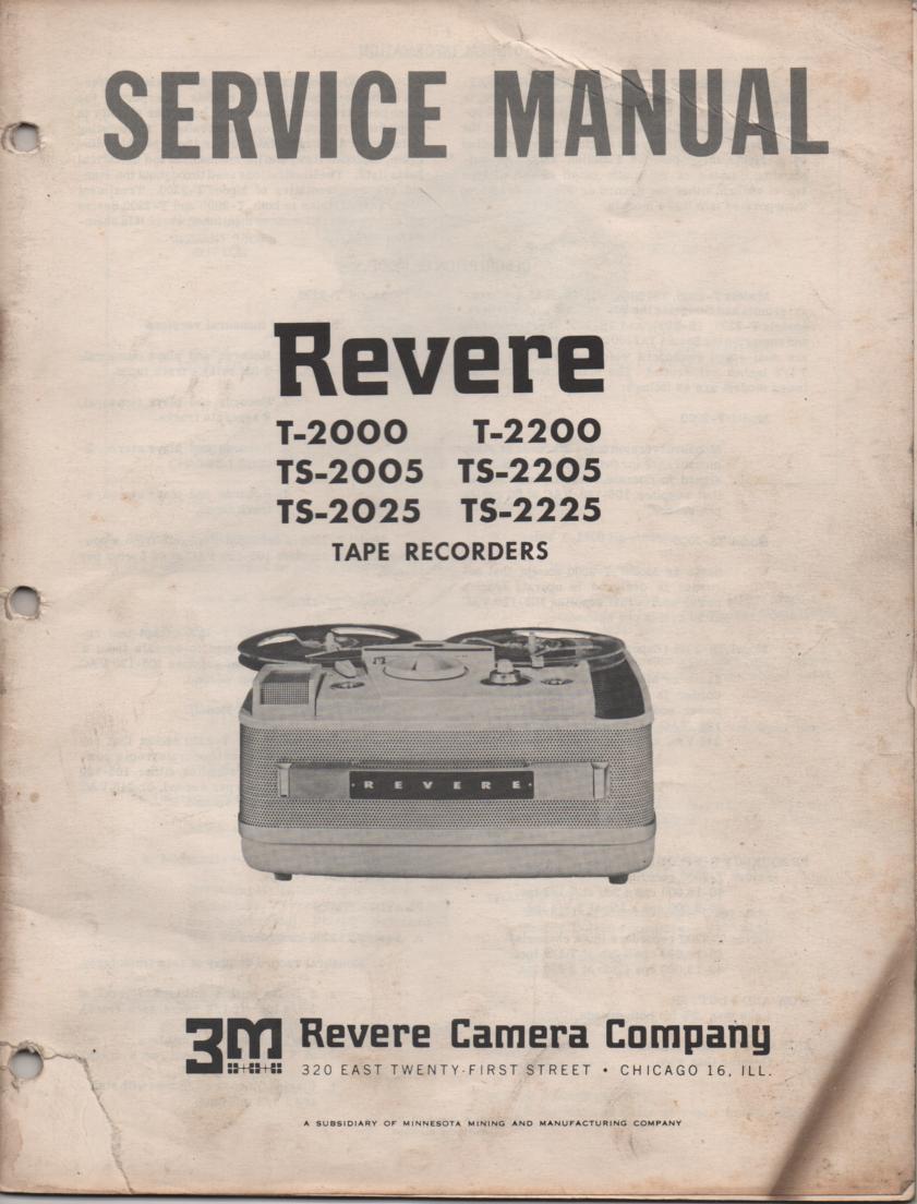 T-2000 T-2005 T-2025 T-2200 T-2205 T-2225 Reel to Reel Tape Recorder Service Manual