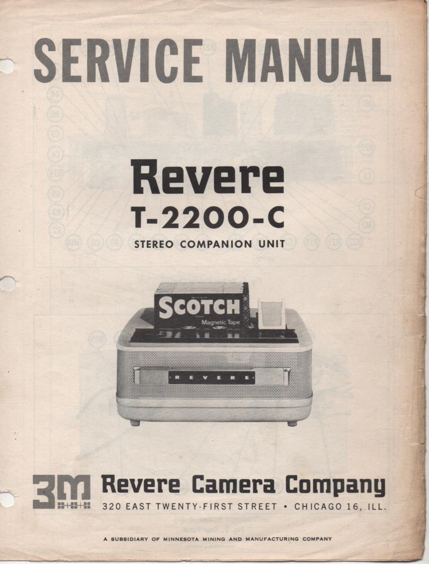 T-2200-C Reel to Reel Tape Recorder Service Manual