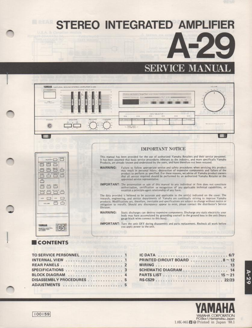 A-29 Amplifier Service Manual