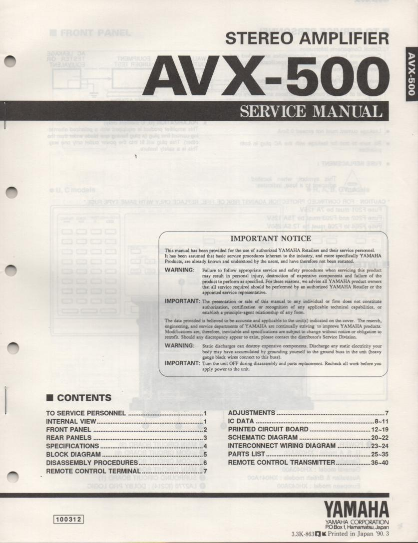 AVX-500 Amplifier Service Manual