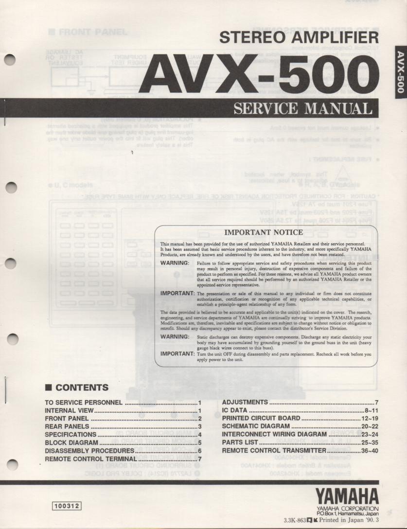 AVX-500 Amplifier Service Manual