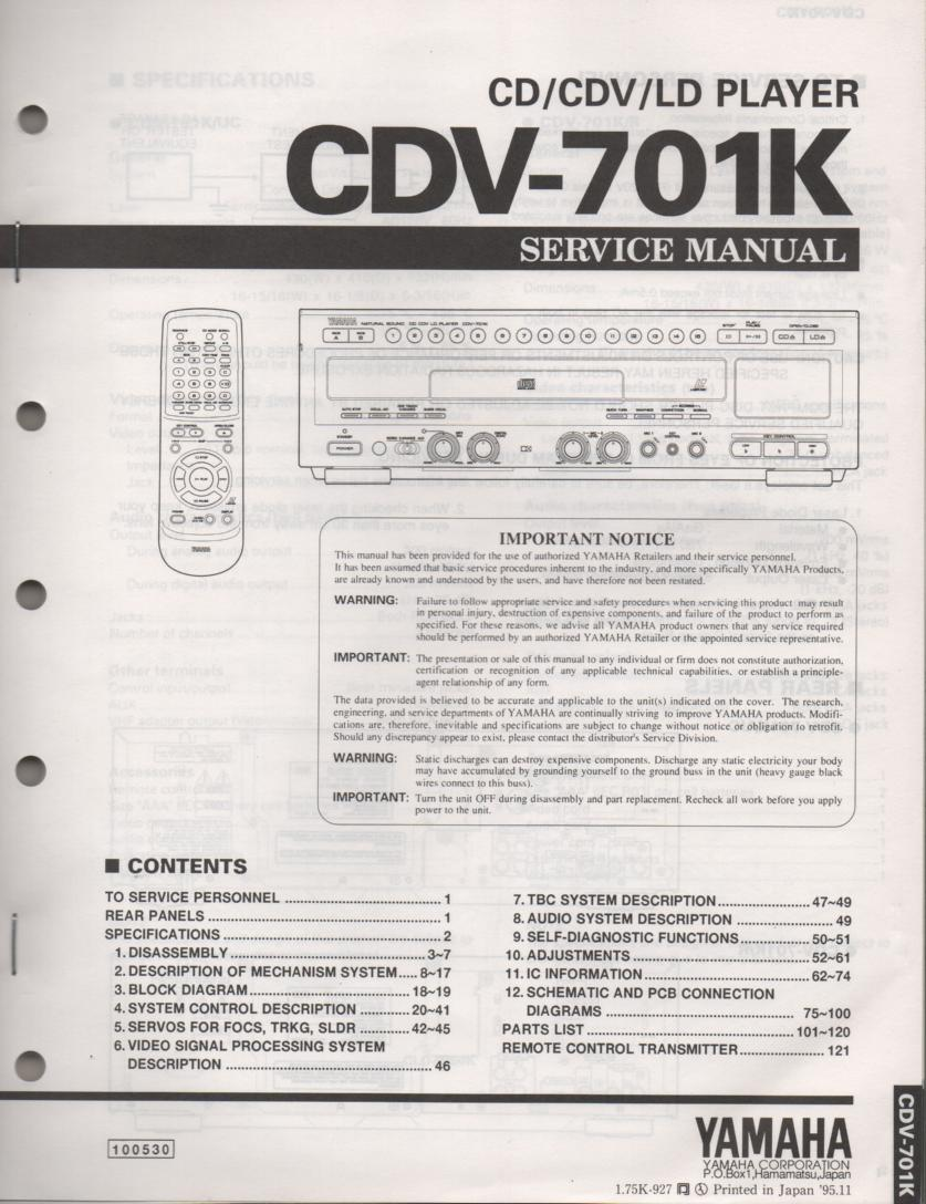 CDV-701K CD CDV Laser Disc Player Service Manual