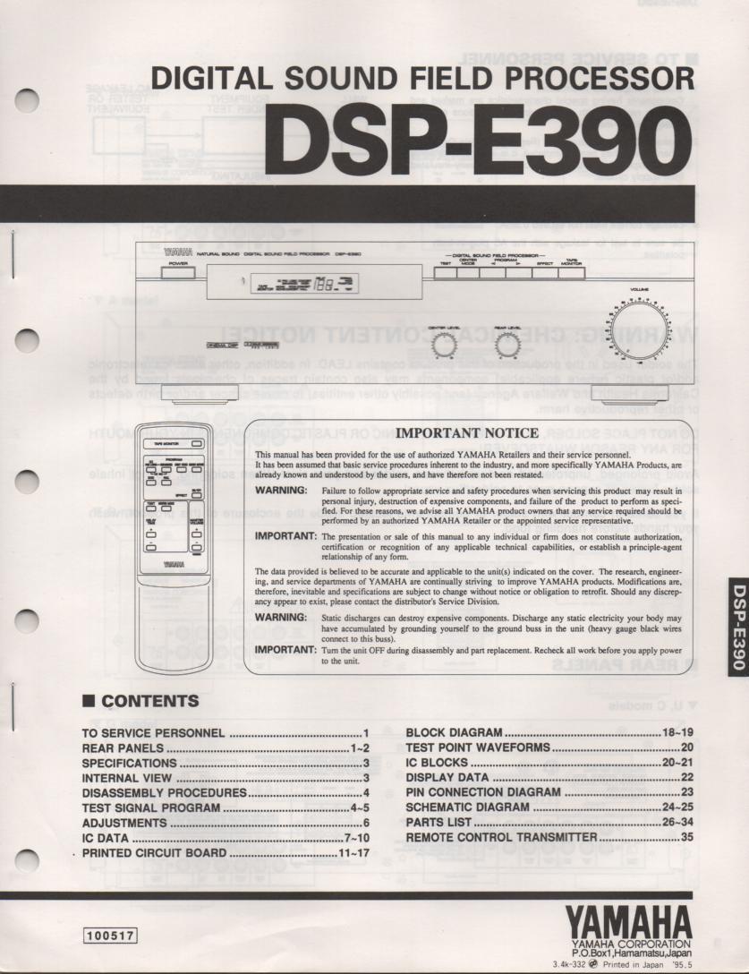 DSP-E390 Amplifier Service Manual