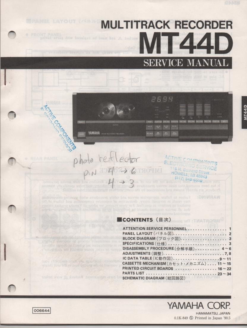 MT44D Multitrack Cassette Recorder Service Manual