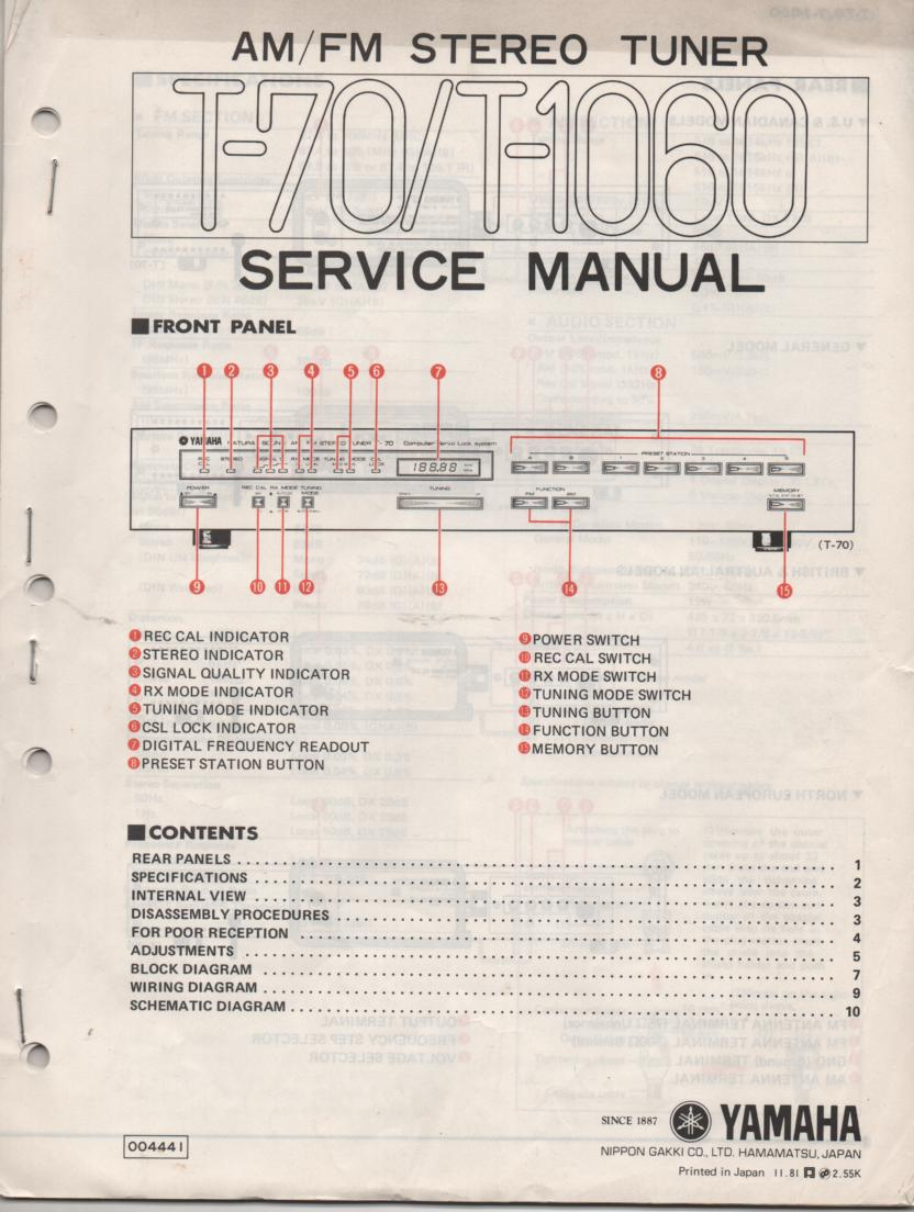 T-70 T-1060 Tuner Service Manual