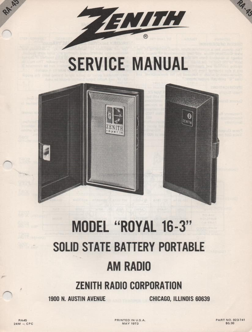 16-3 Royal 16-3 AM FM Radio Service Manual RA45
